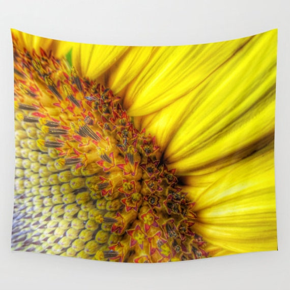 Sunrise Wall Tapestry, Sunflower Wall Art, Yellow Large, Office, Happy Fine Art Photography, Nature, Flower, Wedding Gift, Outdoor, Dorm