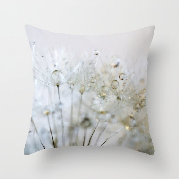 Gold Silver Throw Pillow, Dandelion, Make a Wish Decorative Pillow, Nature Cushion, Wedding Gift, Water Drops, Holiday, Dew, Office, Dorm