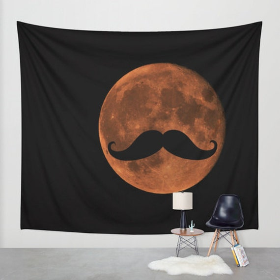 Mustache Blood Moon Wall Tapestry, Full Moon Tapestry, Mustache Tapestries, Black, Noir Wall Art, Humor Home Interior, Dorm Art, Office Art