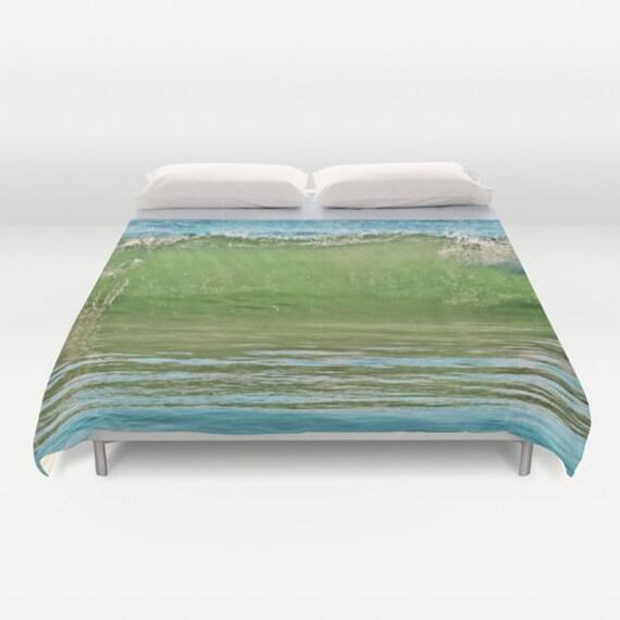 Ocean Duvet Cover, Waves Decorative bedding, unique design, Nautical, Dorm, Aqua Blue Green Bedroom, Beach, Surf, Water, Ocean Green