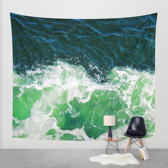 Green Ocean Waves Tapestry, Nautical Tapestry, Coastal Large Wall Decor, Surf Photo Tapestry, Aqua Green Tapestry,Nature, Office, Beach,Dorm