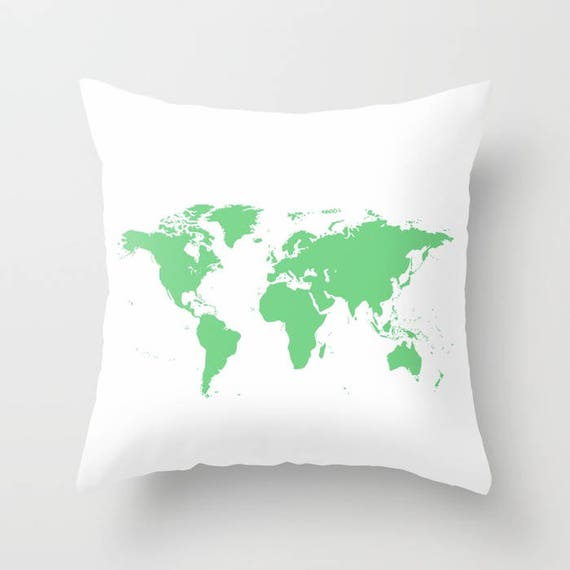 World Map Pillow, World Map Home Decor, Interior Design, Accent Piece, White Green Pillow, Dorm, Office Pillow, Geography, Modern, Classic