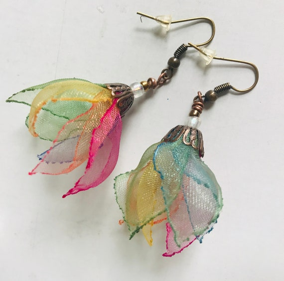 Custom listing for leyla83 - Rainbow . organza one of a kind earrings . Dancing in the air - designed and handmade by MGMart