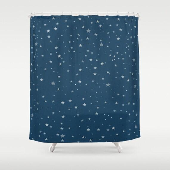 Starry Night Shower Curtain, Patriotic Bathroom, Modern, Home Decor, Digital Art, Navy Blue Shower Curtain, Stars Shower Curtain, Space