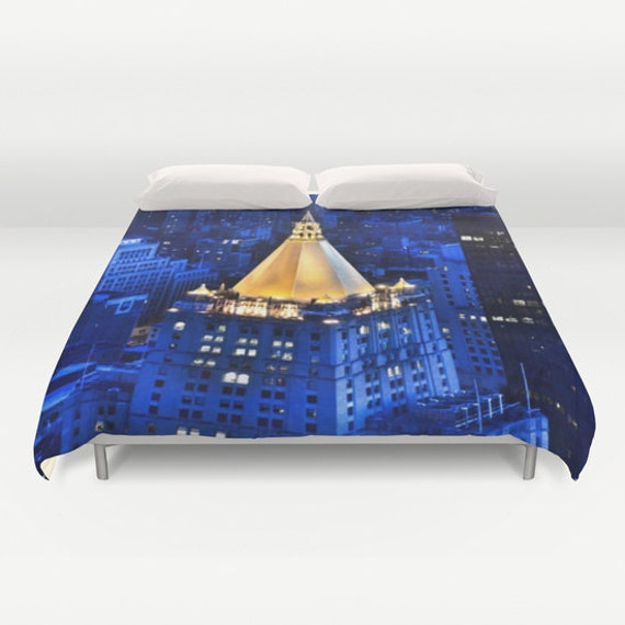 New York Life Building Bedding, Manhattan Duvet Cover, Decorative bedding, unique, modern, urban, Blue, city bedding, dorm, architecture