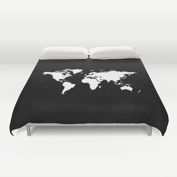 World Map Duvet Cover, Decorative bedding, World Map Bedding, bedroom  blanket, Black White Bedding, Modern Bedding, Chalkboard Black Bedding