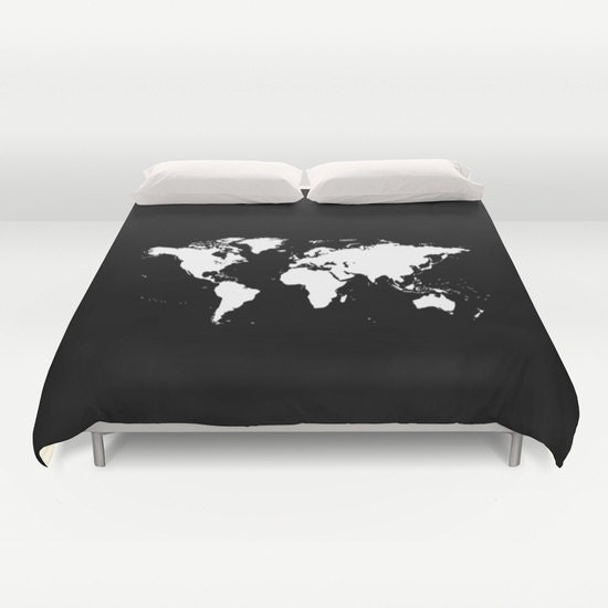 World map duvet cover decorative bedding world map bedding world map duvet cover decorative bedding world map bedding bedroom blanket black white bedding modern bedding chalkboard black bedding gumiabroncs Images