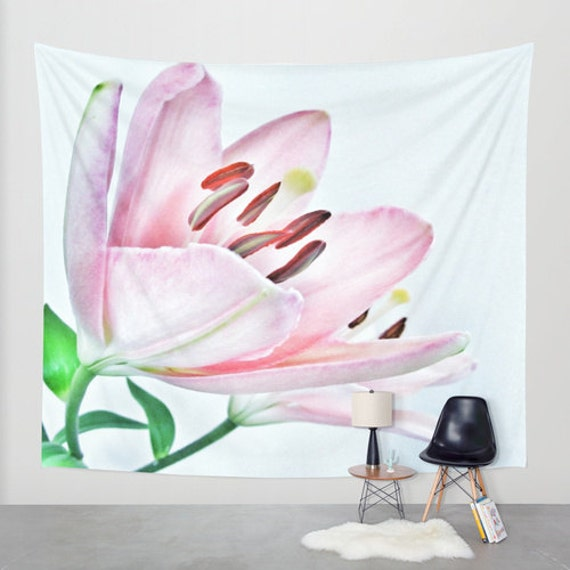Lily Wall Tapestry, Large Flower Wall Art, Flower, Pink, Dorm, Office, Petals, Modern Decor, Nature, Wedding Gift, Nursery Art, Floral
