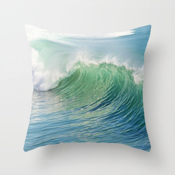Ocean Throw Pillow, Waves Pilow, Office, Dorm, Decorative Pillow, Nature Cushion,Wedding Gift, Nautical, Surf, Beach, Ocean Blue Green