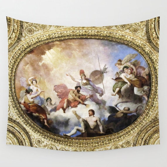Fresco on Ceiling Tapestry, Mythological Large Wall Decor, Dorm, Office, Hotel, Rich Gold, Home Decor, Wall Hanging, Paris Tapestry, Classic