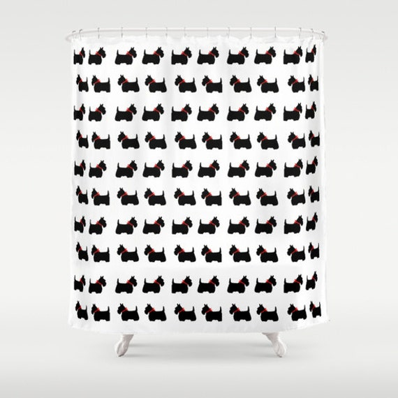 Scotty Dog Shower Curtain, Scottie Dog Bathroom Decor, Modern Home Decor, Red Bow, Pattern, Pet, Wedding Gift, Black White Shower Curtain