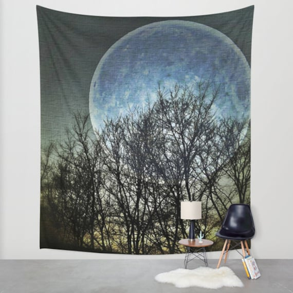 Blue Moon Wall Tapestry, Goth Large Size Wall Art, Modern Decor, Full Moon, Office, Outdoor, Garden, Night Sky Tapestry, Dorm Art, Surreal