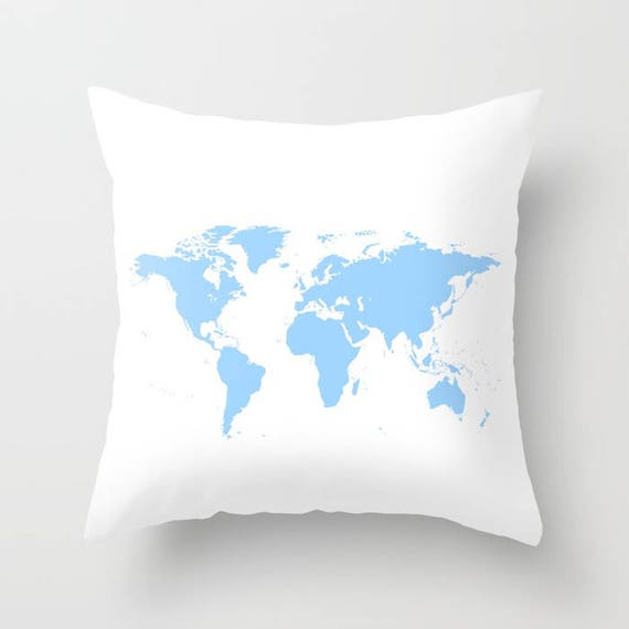 World Map Pillow, World Map Home Decor, Interior Design, Accent Piece, White Blue Pillow, Dorm, Office Pillow, Light Blue Map, Geography