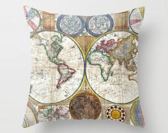 Old World Map Throw Pillow, Vintage Map Pillow, World Map Decorative Pillow, Dorm, Antique,Office Pillow, Elegant Decor, Office Decor, Trend