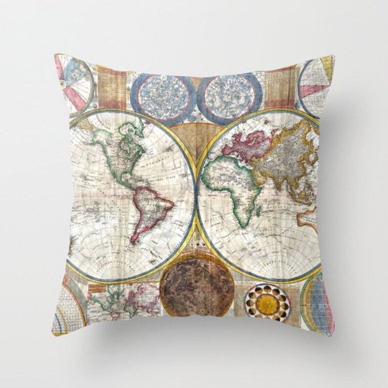 Old World Map Throw Pillow Vintage Map Pillow World Map image 0