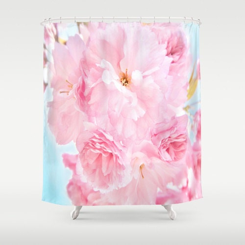Pink Peony Shower Curtain Flower Bathroom Ocen Blue Sky Home Decor