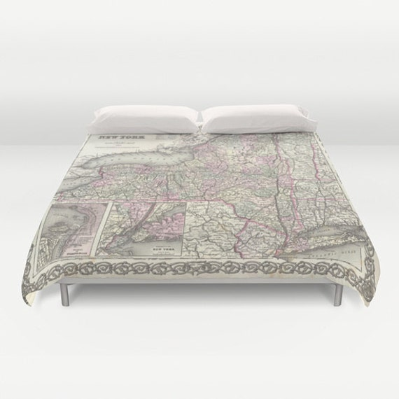 Antique New York Map Duvet Cover, Vintage New York Map Bedding, Old Map Bedspread, Decorative, Unique, Dorm bedding, New York Map Decor