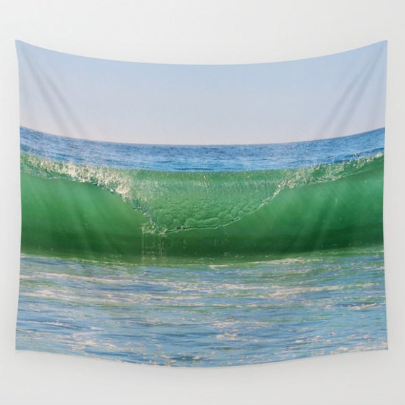 Ocean Wave Tapestry, Nautical Tapestry, Coastal Large Wall Decor, Surf Photo, dorm, Office, Aqua Blue Green, Nature Tapestry, Beach, Sea