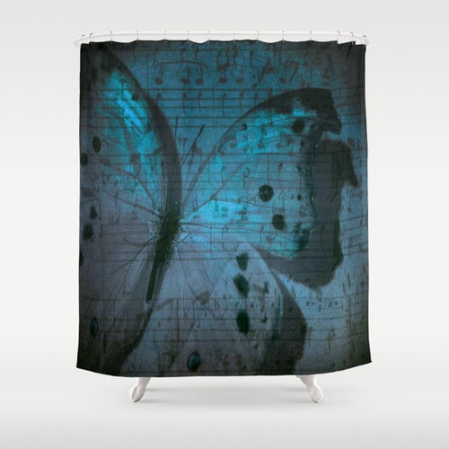 Butterfly Shower Curtain Nature Bathroom Modern Home Decor Midnight Symphony Photography Music Notes Blue CurtainBlue Interior
