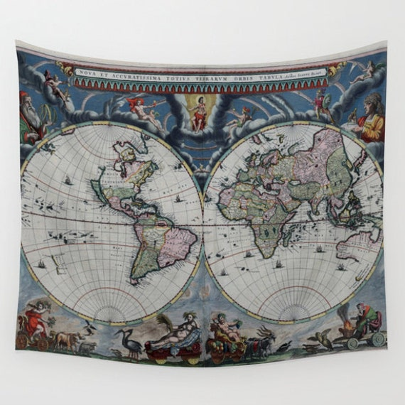 Old World Map Wall Tapestry, Vintage Map Large Size Wall Art,Modern, Dorm,Office Decor,Beach Hut Decor,Ancient Tapestry,Vintage Map Tapestry