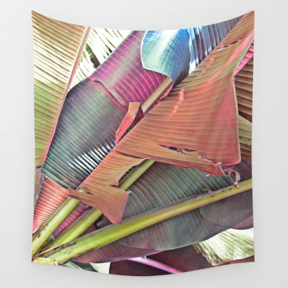 Banana Leaves Wall Tapestry, Tropical Large Size Wall Art, Fine Art Photography, Modern, Office, Nature, Beach Hut Decor, Jungle Palms, Dorm