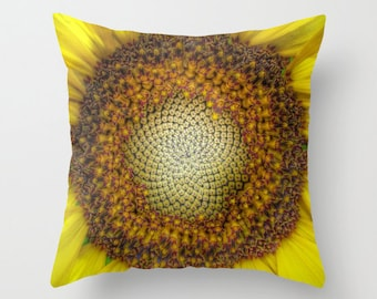 GHOST Sunflower Throw Pillow, Decorative Pillow, Cushion, Yellow, Sunflower Decor, Vivid, Bold, Sunny, Happy, Dorm, Office, Hotel, Nature
