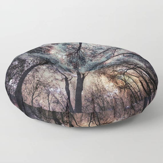 "Starry Sky in the Forest Round Pillow, 26"" and 30"", Floor Cushion, Dorm Pillow, Teen Decor, Office, Home Statement Piece, Woods,Trees,Nature"