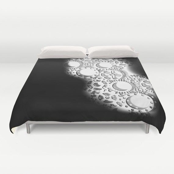 Gears Duvet Cover, Black White Decorative bedding, Industrial Decor, Steampunk bedding, Modern Decor, Dorm, Steam punk Bedding, Contemporary