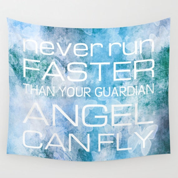 GUARDIAN ANGEL Quotation Tapestry, Blue Wall Tapestry, Blue Lilac Home Decor, Modern, Text Art, Word, Inspirational, Dreamy, Dorm, POP Art