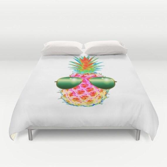 Electric Pineapple with Shades POP Art Duvet Cover, Neon Colors Decorative bedding, POP art Decor, Fruit bedding, Modern Decor, Dorm, Funky