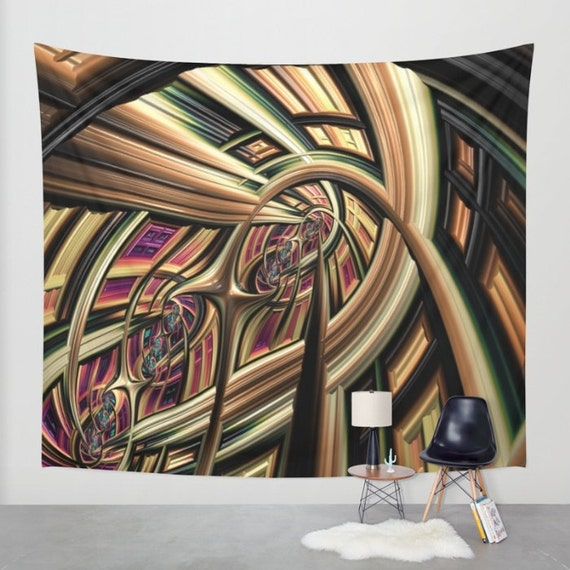 Arch Abstract Wall Tapestry, Large Abstract Wall Art, Architecture, Dorm, Office, Brown Green, Modern Decor, Digital Art, Contemporary