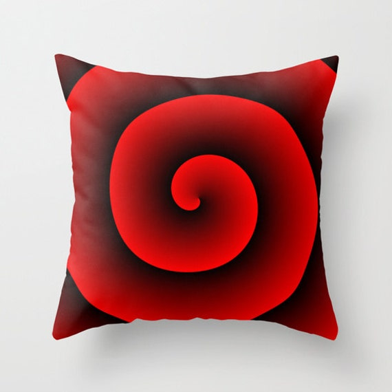 Black Red Spiral Throw Pillow, Decorative Pillow, Black Red Cushion, Hypnotic Design, Modern Decor, Unique Pillow, Contemporary, Dorm,Office
