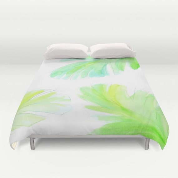 Watercolor Leaves Duvet Cover, Banana Leaf Decorative bedding, White Green, Palm, Tropical, Fresh, Botanical, Nature, Dorm Bedding, Modern
