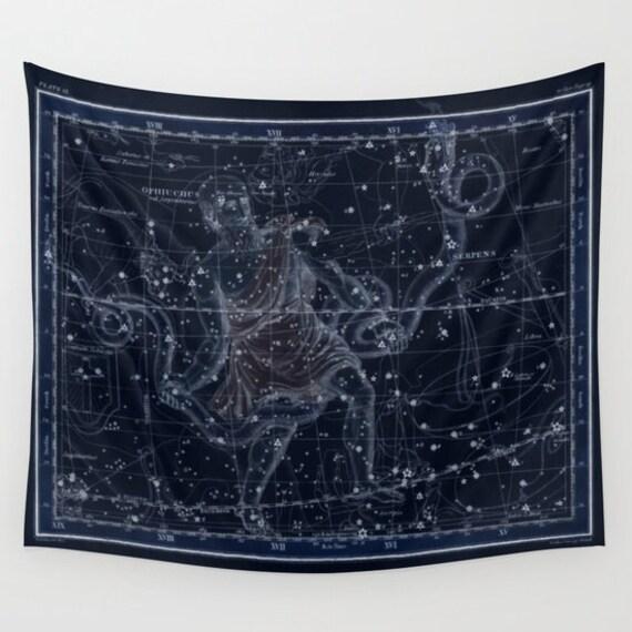 Zodiac Star Map Tapestry, Vintage Star Map Large Size Wall Art, Astronomy Decor, Office Decor, Beach Hut, Dorm,Astrology,Star Sign,Celestial