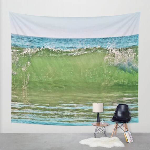 Big Wave Tapestry, Nautical Tapestry, Coastal Large Wall Decor,Surf Photo, Dorm, Office, Aqua Blue Green, Nature, Sea, Beach, Water, Ocean
