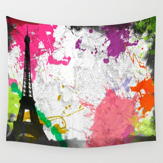 Eiffel Tower Tapestry, Paris Tapestry, Splash Large Wall Decor, Paint Splash, Office, Abstract Decor, Wall Hanging, Dorm Privacy Screen