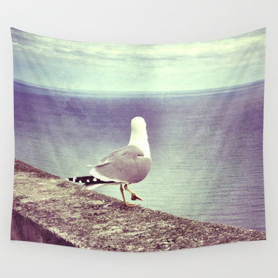 Seagull Wall Tapestry, modern, Gull, office, dorm, nature, fine art, Bird photography, inspirational, dreamy, Laridae, Sea, Ocean, Whimsical