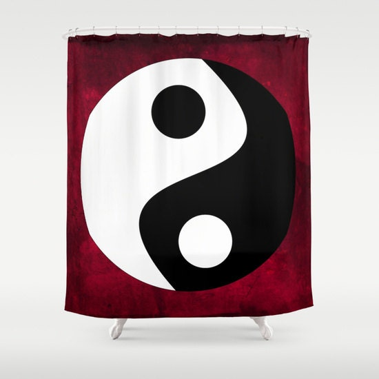 Yin and Yang Shower Curtain, Symbolism Bathroom, Red Black White ...