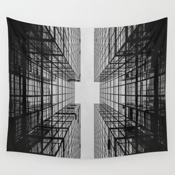 Buildings Wall Art Tapestry, Noir, Office, Black Wall Art, Goth Interior, Steam punk, Architecture, Steampunk, Industrial Decor, Dorm