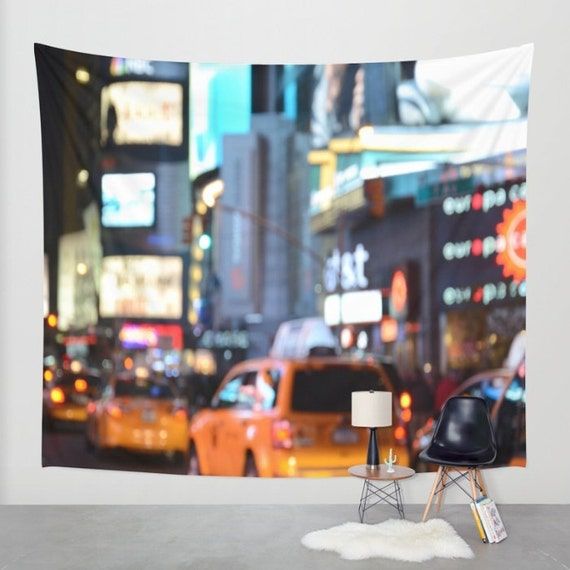 Yellow Cabs at Time Square in New York Wall Tapestry, Wall Art, Bokeh, City Light Tapestry, Urban, Modern, Architecture, Office, Dorm Art