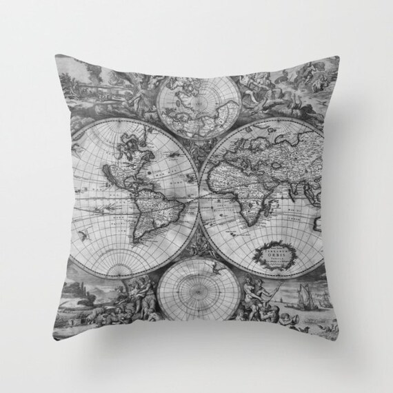 Old World Map Throw Pillow, Vintage Map Pillow, World Map Decorative Pillow, Surf, Elegant, Office Decor, Black White,Grayscale,Dorm,Library