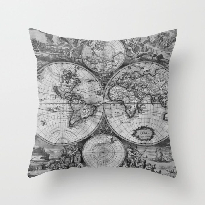 Old World Map Throw Pillow Vintage Map Pillow World Map Decorative - Black and white vintage world map