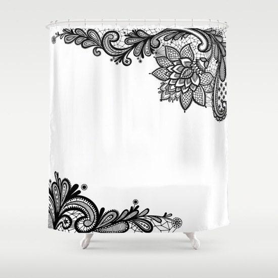 White Black Shower Curtain Lace Print Bathroom Decor
