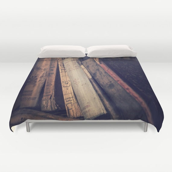Old Books Duvet Cover, Book Decorative bedding, unique design, Book, Dorm bedroom, Antique Book Bedding, Vintage Book bedding, Literacy