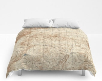 Antique New Mexico Map Comforter, Vintage New Mexico Map Bedding, Old Map Bedspread, Decorative, Unique Design, Comforter,New Mexico decor