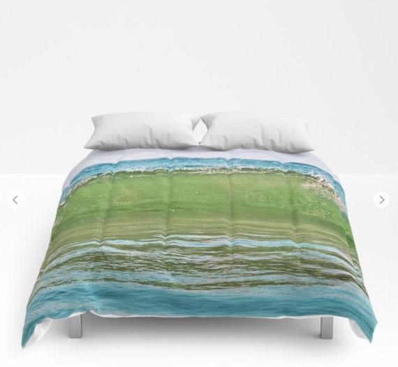 Ocean Waves Comforter, Ocean Blue Green Decorative bedding, Nautical Decor, Aqua Blue bedroom, Surf, Water, Ocean Blue Bedding, Happy, Dorm