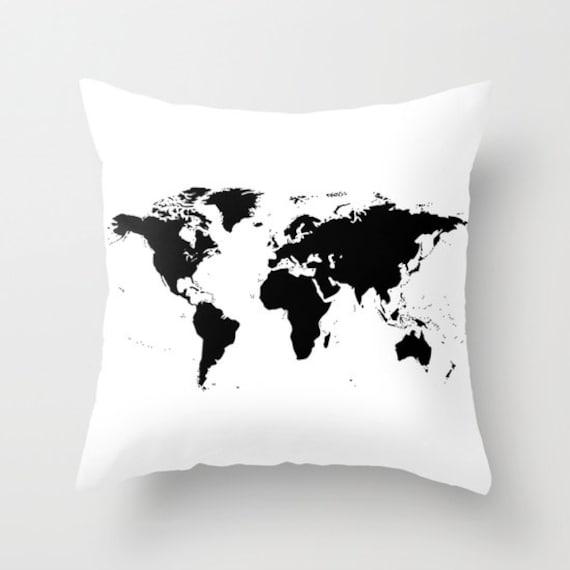World Map Pillow, World Map Home Decor, Interior Design, Accent Piece, White Black Pillow, Dorm, Office Pillow, Chalkboard Black Map Pillow