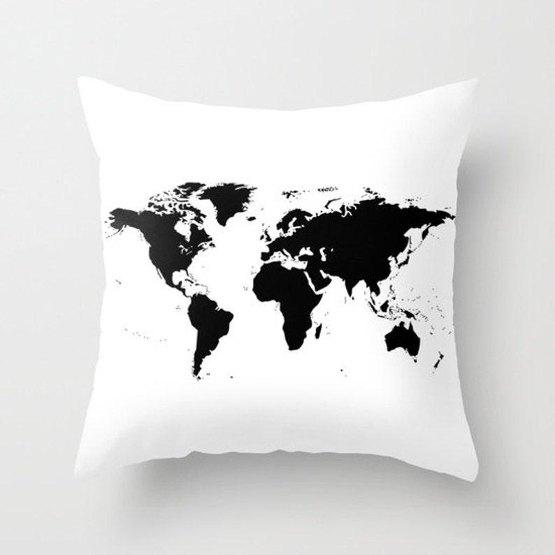 World Map Pillow World Map Home Decor Interior Design image 0