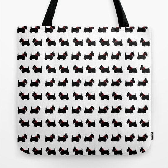 Scotty Dog Tote Bag, 13x13, 16x16, 18x18, Scottie Dog, Office bag, Beach Tote, Free Shipping, Contemporary Tote, Holiday Tote, Black White