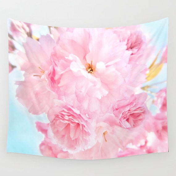 Soft Blue Sky with Pink Peonies Wall Tapestry, Large Wall Art, Flower, Dorm, Office, Petals, Modern, Home, Nature, Wedding Gift, floral